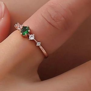 Rose gold minimalist dainty ring green stone color